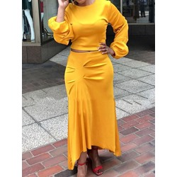 Plain Fashion Skirt Pullover Women's Two Piece Sets