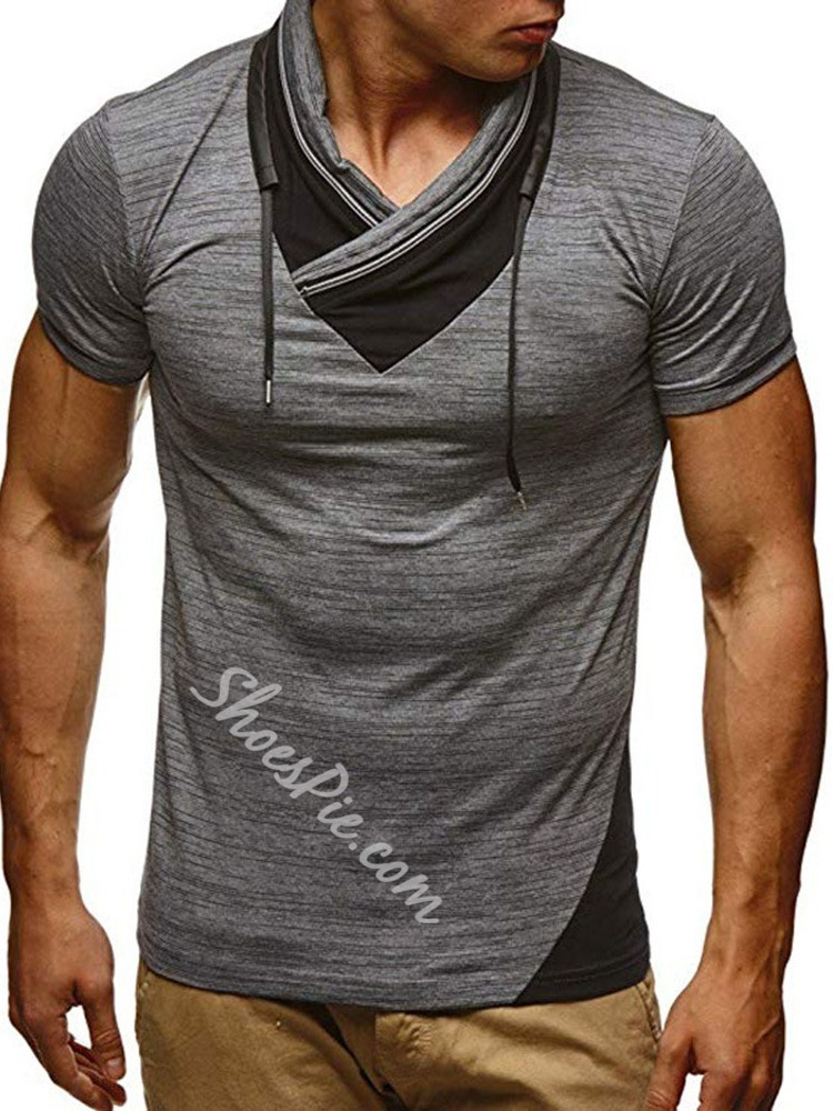 Patchwork Color Block Casual Pullover Slim T-shirt