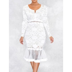 Mid-Calf Embroidery Long Sleeve Floral Women's Dress
