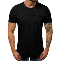 Round Neck Casual Patchwork Pullover Slim T-shirt