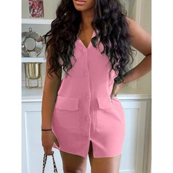 Button Sleeveless Above Knee Single-Breasted Women's Dress