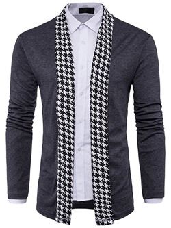 Casual Houndstooth Patchwork Fall Slim Shirt