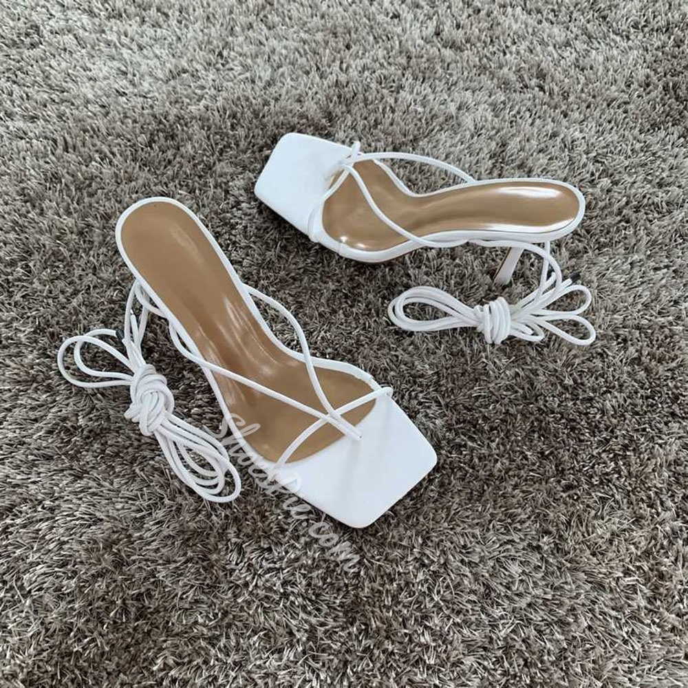 Shoespie Stylish Stiletto Heel Thong Lace-Up Plain Strappy Sandals