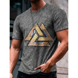 Round Neck Print Casual Slim Pullover Gray T-shirt