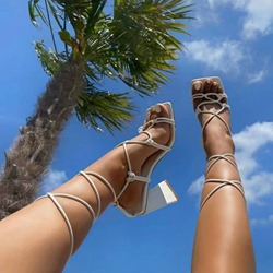 Shoespie Stylish Open Toe Lace-Up Chunky Heel Professional Sandals