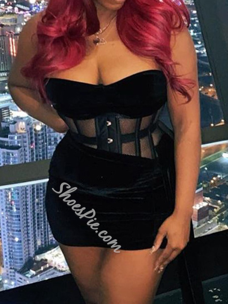 Skirt Patchwork Fashion Bodycon Women's Two Piece Sets