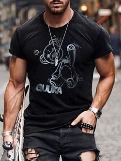 Casual Print Round Neck Short Sleeve T-shirt