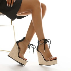 Shoespie Sexy Open Toe Lace-Up Wedge Heel Patchwork Sandals