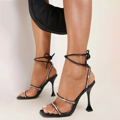 Shoespie Stylish Spool Heel Open Toe Lace-Up Banquet Sandals