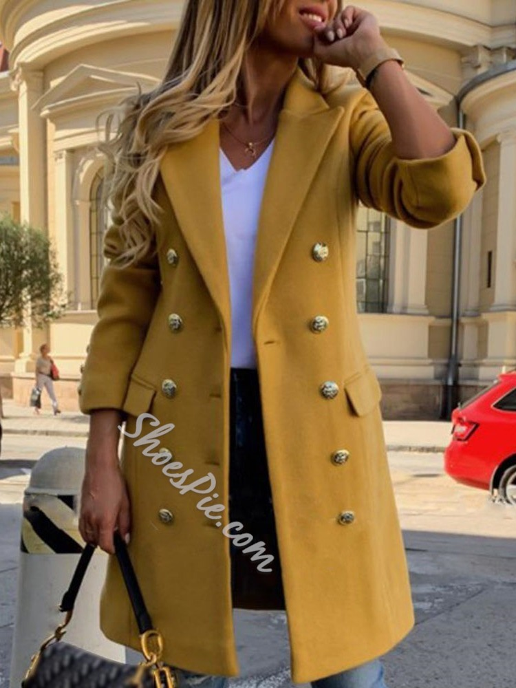 Double-Breasted Button Regular Lapel Women's Overcoat