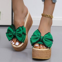 Shoespie Sexy Bow-knot Slip-On Wedge Heel Flip Flop Casual Slippers