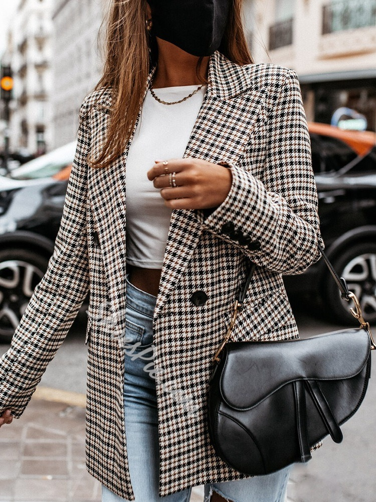 Double-Breasted Plaid Long Sleeve Summer Women's Casual Blazer