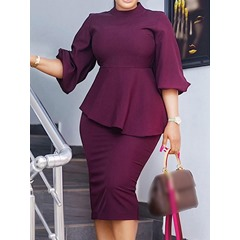 Formal Plain Skirt Pullover Women's Two Piece Sets