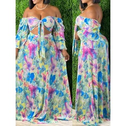 Floral Sexy Skirt Pullover Women's Two Piece Sets