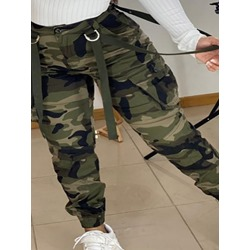 Skinny Camouflage Patchwork Pencil Pants Women's Casual Pants