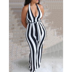 Lace-Up Stripe Sexy Bellbottoms Women's Jumpsuit