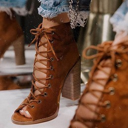 Shoespie Stylish Plain Lace-Up Front Hidden Elevator Heel Professional Boots