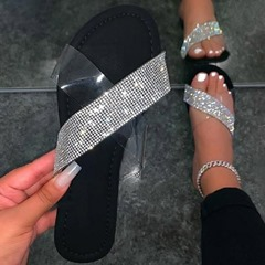 Shoespie Trendy Rhinestone Flat With Flip Flop Rubber Slippers