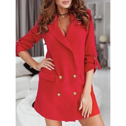 Plain Double-Breasted Notched Lapel Mid-Length Women's Casual Blazer