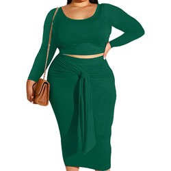 Skirt Formal Lace-Up Bodycon Women's Two Piece Sets