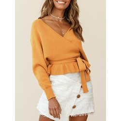 Thin Lace-Up Long Sleeve Women's Sweater
