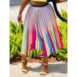 Pleated Color Block Mid-Calf Fashion Women's Skirt
