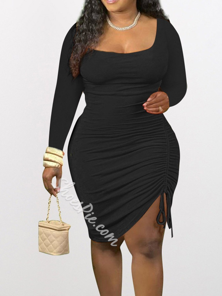 Long Sleeve Lace-Up Square Neck Bodycon Women's Dress