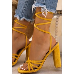 Shoespie Trendy Open Toe Lace-Up Chunky Heel Western Sandals