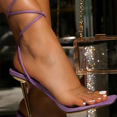 Shoespie Strappy Sexy Lace-Up Open Toe Stiletto Heel Plain Sandals