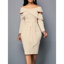 Nine Points Sleeve Lace-Up Knee-Length Bodycon Women's Dress