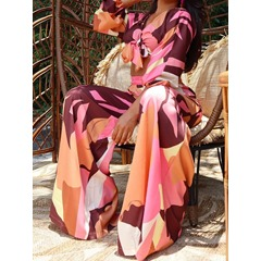 Sweet Pants Color Block Pullover Women's Two Piece Sets