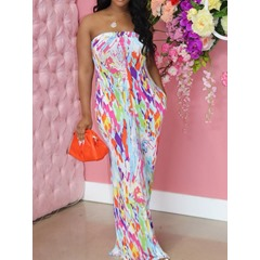 Sweet Backless Color Block Straight Women's Jumpsuit