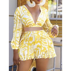 Color Block Sweet Patchwork Wrapped Women's Two Piece Sets