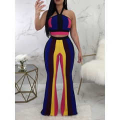 Pants Fashion Patchwork Pullover Women's Two Piece Sets