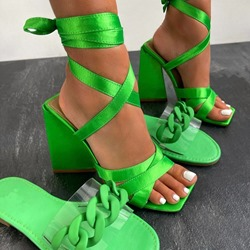 Shoespie Stylish Lace-Up Chunky Heel Open Toe Professional Sandals