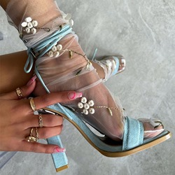 Shoespie Sexy Lace-Up Open Toe Chunky Heel Western Sandals