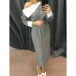Ankle-Length Patchwork Long Sleeve Fashion Women's Dress