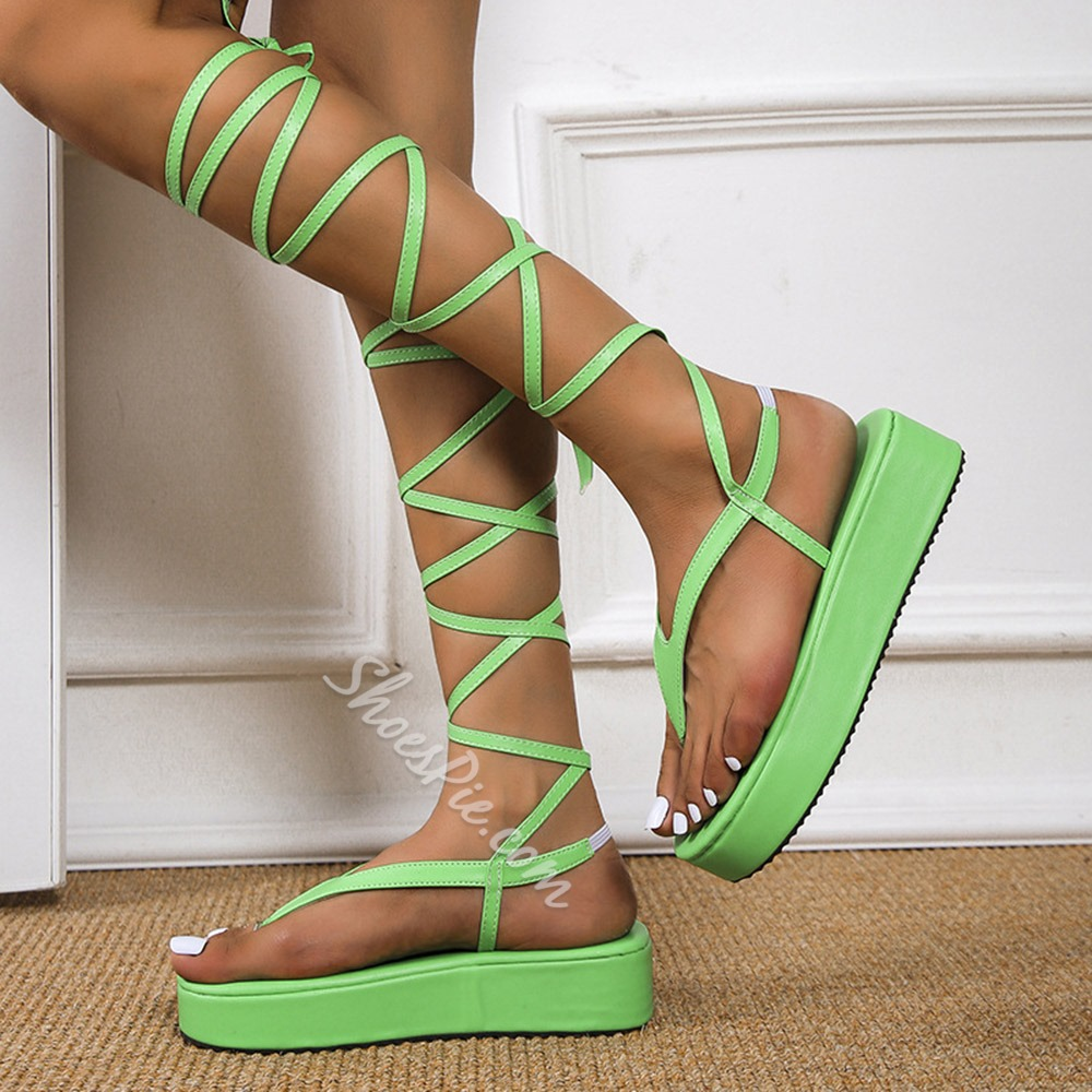 Shoespie Sexy Thong Flat With Lace-Up Casual Sandals
