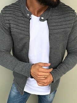 Plain Stand Collar Pleated Zipper Casual Jacket