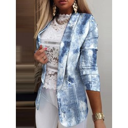 Notched Lapel Wrapped Color Block Summer Women's Casual Blazer