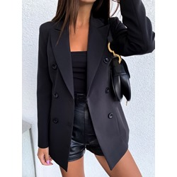 Notched Lapel Double-Breasted Plain Spring Women's Casual Blazer