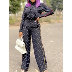 Button Fashion Polka Dots Single-Breasted Women's Two Piece Sets