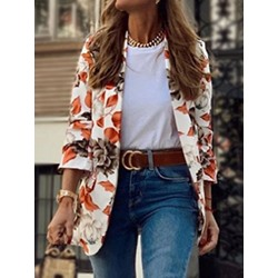 Floral Wrapped Notched Lapel Regular Women's Casual Blazer