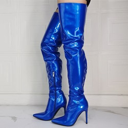 Shoespie Bright Blue Stylish Pointed Toe Stiletto Heel Side Zipper Boots