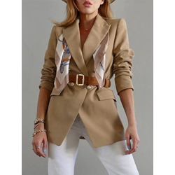 Notched Lapel Double-Breasted Long Sleeve Women's Casual Blazer