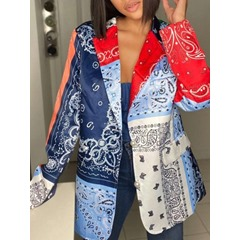 Long Sleeve Notched Lapel Color Block Mid-Length Women's Casual Blazer