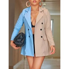Color Block Double-Breasted Long Sleeve Mid-Length Women's Casual Blazer