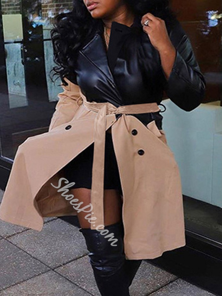 Lace-Up Double-Breasted Long Fashion Women's Trench Coat