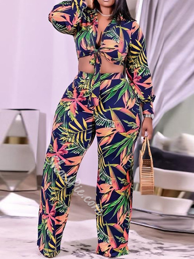 Western Print Pants Straight Women's Two Piece Sets