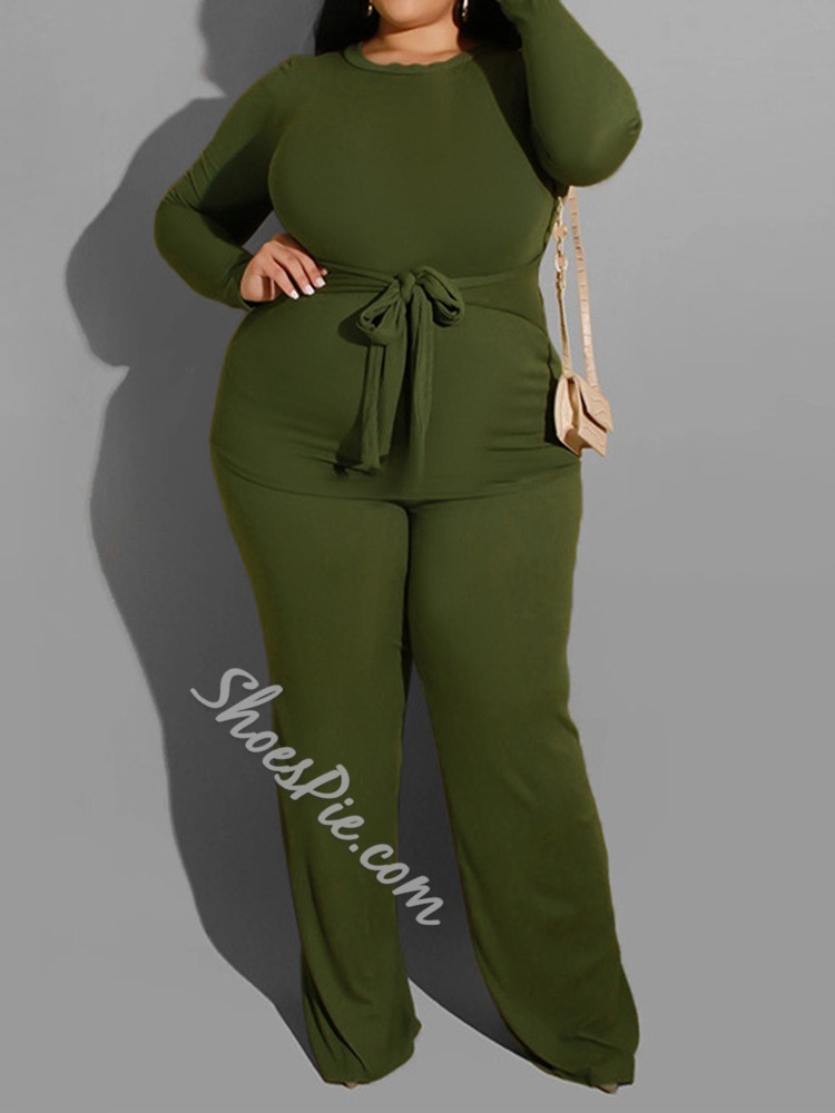 Plain Fashion Lace-Up Pullover Women's Two Piece Sets